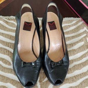 Maud Frizon blk leather sling back heels size7